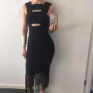 Sheike Black Mirage Fringe Dress RRP $450