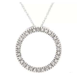Pretty Diamond 10K White Gold Circle Motif Pendant