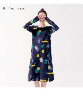 🚚 a la sha穿梭在小鳥裡的泡泡口袋長洋裝連身裙