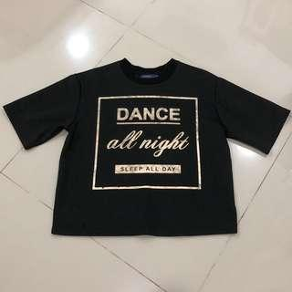 Black with gold shirt