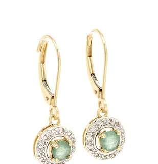 Beautiful Diamond & Emerald 14K Yellow Gold Round