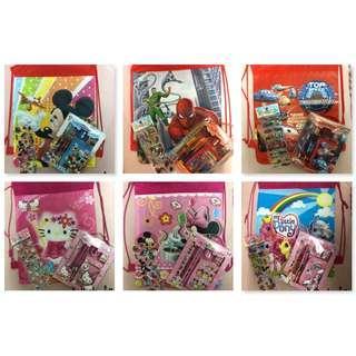 Kids Goodie bag Bundle Set (Drawstring bag & Stationery and wallet set)