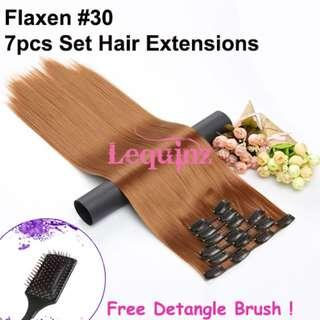 Hair Extensions Clip On 7 Pieces Set Straight 60cm Flaxen #30