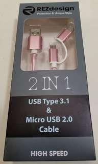 Android Mobile Phone USB type 3.1 & Micro USB 2.0 cable pink