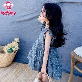 🚚 Girls summer dress 2019 new dress Korean version of the polka dot flying