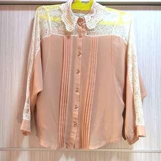 Blouse Vintage Peach - Baju Preloved All Size