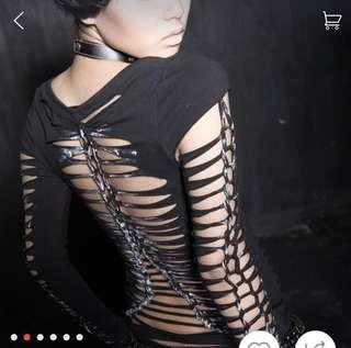 BNWT Full Bandage Tie Steampunk Rave Black Tee XS-S