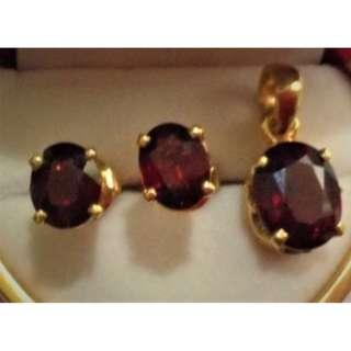 Authentic Garnet Earring and Pendant in 14K Gold