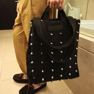 🚚 Black Studded Bag