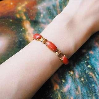 🚚 RED CORAL GOLD BRACELET