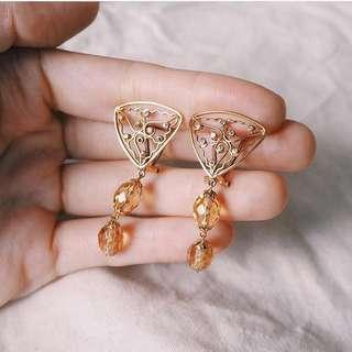 OPEN HEAVEN NATURAL STONE DIAMOND GOLD EARRINGS
