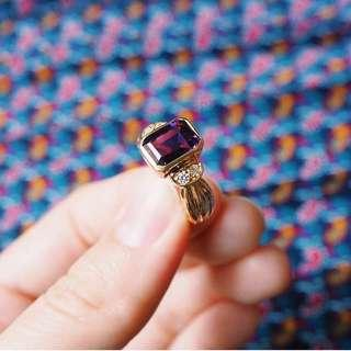 🚚 TRUST AMETHYST DIAMOND GOLD RING