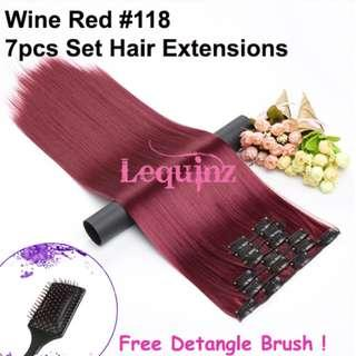 Hair Extensions Clip On 7 Pieces Set Straight 60cm Wine Red #118