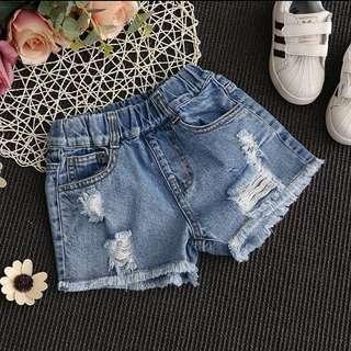 Girls denim shorts hole summer