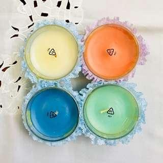 Bekas Bulat bersama Lilin Berwarna IKEA untuk Buah Tangan eksklusif / IKEA Coloured Candle in Glass Container for exclusive Door Gifts (20% off for 10pcs<)