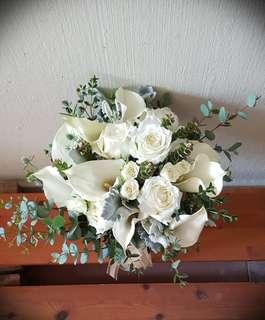 Wedding Flowers, Calla Lily and Rose Bouquet