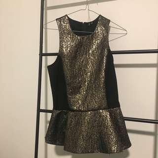 Bardot Gold and Black Top