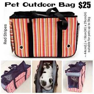 Pet Outdoor Bag (Red Stripes)