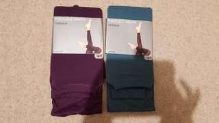 2 Purple/blue footless tights