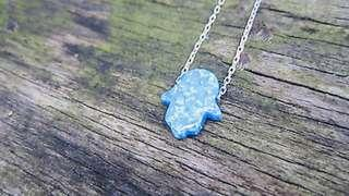 Hamsa hand opal sterling silver necklace