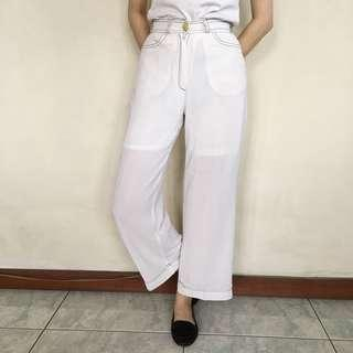 White Polyester Culottes
