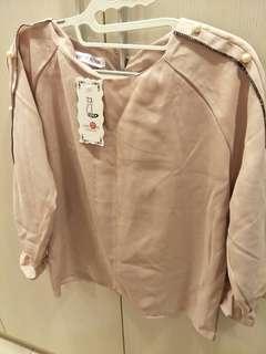 🚚 粉色縮口上衣 粉領組OL也適合