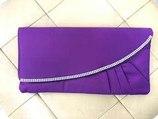 Purple Clutch Bag with long chain