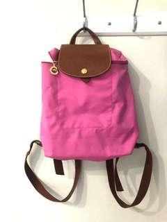 Longchamp 粉色 後背包 收納背包