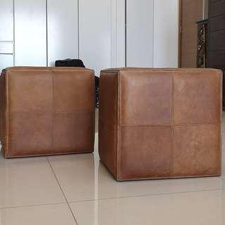 Leather Stool or Pouffe - Taylor B (pair Of 2)