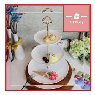Three-tier fruit plate creative pastry cake tray 3 tier