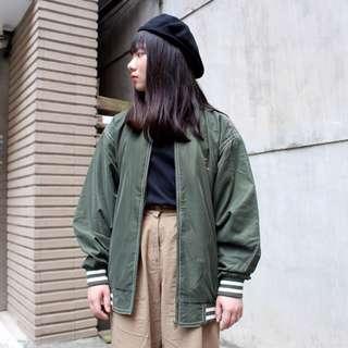 私路古著 緞面棒球外套 反車線 墨綠