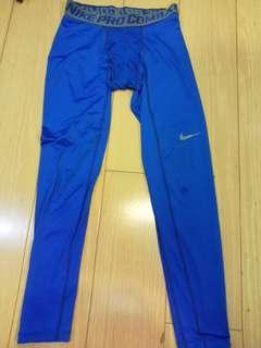 Nike Pro Combat 運動緊身長褲 藍色