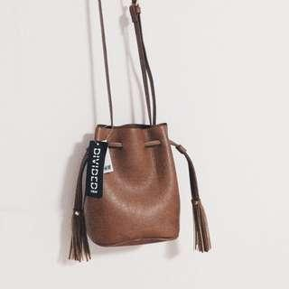 🚚 H&M Brown Tassel Sling Bag