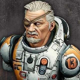Chief Liam Sci-Fi 1/10 Scale Bust Assembly And Painting Needed With Decals And Photos Brand New