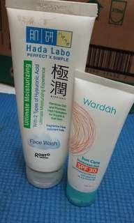 hadalabo facial wash dan sunscreen wardah