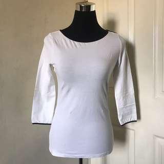 H&M Pima Cotton 3/4 Sleeve Top S / White