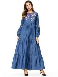 Muslim Denim Flare Dubai Fashion Dress