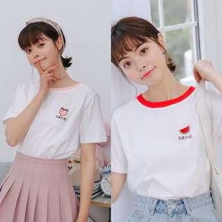 ulzzang fruit embroidered chinese word print ringer shirt