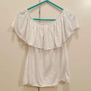 Zara Girls 白色一字膊上衣 white off-shoulder top (can be worn as short sleeves)