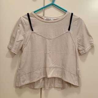 韓牌杏色偽吊帶背心短袖T恤 beige top