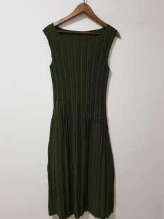 Brand New Pleated Army Green Dress