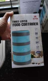 3-layer food container. Stainless steel, leakproof and keep warm