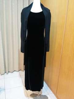 🚚 MAG黑絨布+100%SILK,附真絲流蘇圍巾
