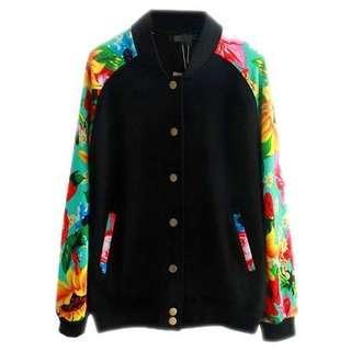 1折♥英國ASOS全新彩色印花長袖黑色棒球褸外套♥男裝女裝 歐美 Bomber Jacket With Floral Sleeves not Moussy SLY Chanel Dior Zara F21  韓國 日本