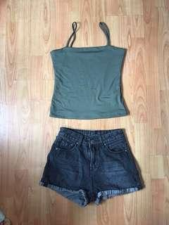 Olivegreen top and jeans