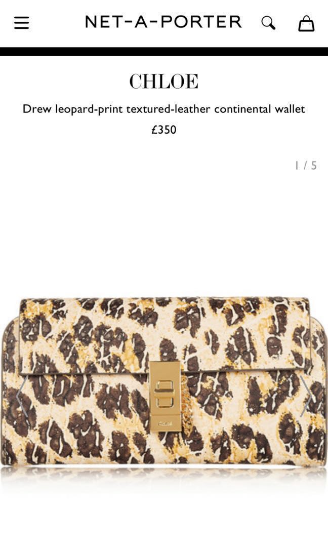 079aa5270d 全新Chloe Drew leopard leather continental wallet new 豹紋長銀包真皮 ...