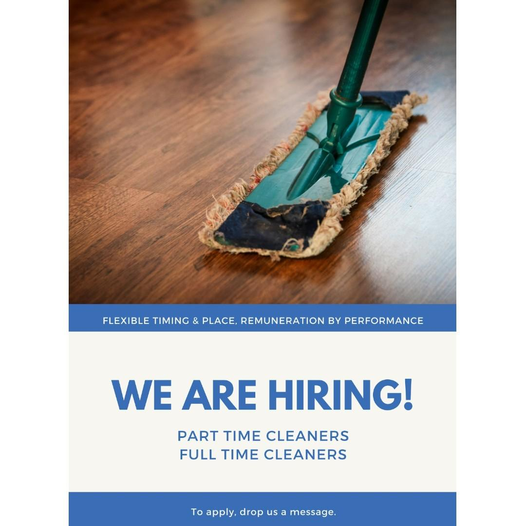 ✨ PART TIME/FULL TIME CLEANERS WANTED ✨