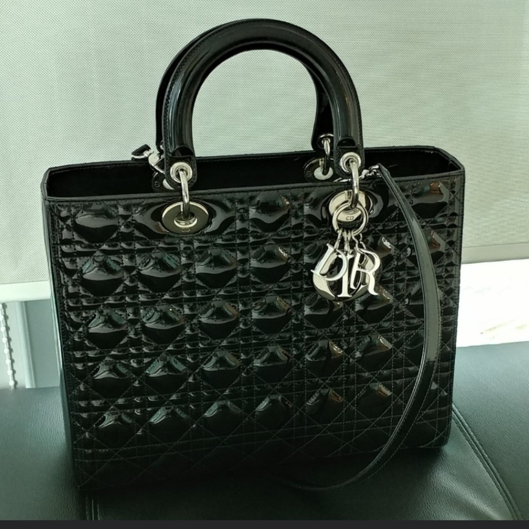 adf8dbebc0 Authentic Lady Dior Large Patent Bag, Luxury, Bags & Wallets ...