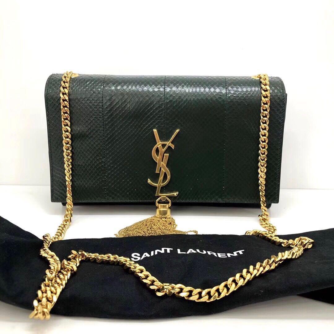 Authentic Pre-loved YSL Saint Laurent Dark Green Python Kate Tassel Bag (Medium)