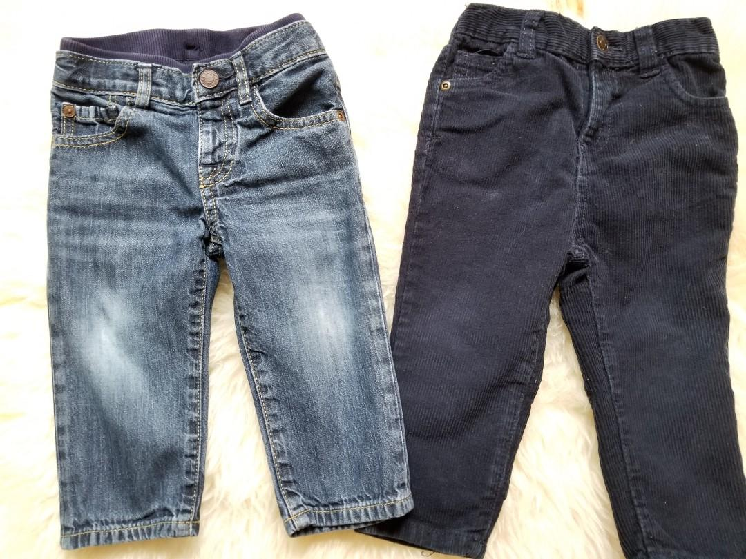 Baby Gap size 12 to 18 months stonewashed jeans $8 and Joe Fresh  corduroy also size 12 to 18 months $6. These were purchased brand new from